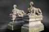 Paar Franse Zandstenen Sfinxen
