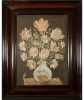 A Pair of 17th Century Embroideries depicting Still-lifes of a Bouquet of Tulips