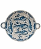 A Dutch Delft Blue and White Two-handled Tripod Circular Fish Strainer