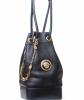 Gianni Versace Couture Black Leather Medusa Drawstring Bag - Gianni Versace