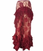 John Galliano Burgundy Ruffle Lace Maxi Skirt with Bustier