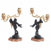 A pair patinated and gilt bronze candelabra harlequins circa 1880