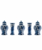 A Five Piece Blue and White Dutch Delft Garniture
