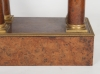 A good  well figured Empire burr walnut 4 pillar table regulator, signed