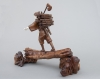 A good and very nice detailed Japanese lumberjack sculpture, signed, Circa 1900