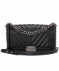 Chanel Black Chevron Quilted Boy Bag New Medium - Chanel