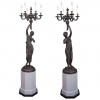 A pair of candlesticks adapted for electricity, circa 1880