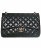 Chanel Black Quilted Lambskin Leather Classic Double Jumbo Flap Bag - Chanel
