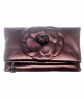 Chanel Bronze Leather Camellia Foldover Clutch - Chanel