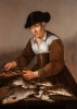 A Fisherman and Fisherwoman with fish on a table - Pieter de Putter