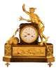 M73 French gilt bronze mantel clock, member of the 'Au bon Sauvage' familie, with a gilt statue of 'Mercury/Hermes'