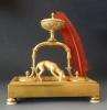 French bronze bureau inkstand, hound with hare, Empire, c. 1820.