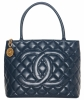Vintage Chanel Navy Blue Caviar Quilted Medallion Tote