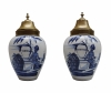 A Pair of Tobaccojars in Blue Delft.