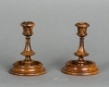 A lovely pair of small Olive wood candlesticks probably early XX century