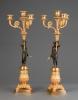 A good pair of four light empire candle sticks, circa 1820