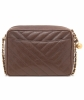Chanel Brown Caviar Chevron Quilted Camera Bag - Chanel