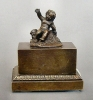 A charming antique Charles X inkwell with putty, France circa 1830.