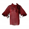 Chanel Red Silk Blouse 07A