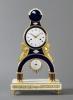 A French Directoire ormolu skeleton clock fine enamel and calendar, Gaston Joly, circa 1795.
