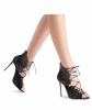 Casadei Black Leather Lace-Up Sandals