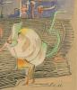 Hannah Höch, Aquarel met inkt op papier, getiteld 'Pat u Patachon', gesigneerd met initialen 'H.H.', jaren '20 - Hannah Höch