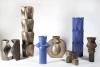Jan van der Vaart, Blauw geglazuurde steengoed vaas, multipel, uitgevoerd in eigen studio, eind jaren '90 - Jan van der Vaart