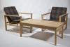 Børge Mogensen, twee eikenhouten fauteuils, stofontwerp Lis Ahlman, uitvoering Fredericia Stole Fabrik, 1956 - Børge Mogensen