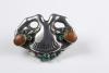 Georg Jensen, Art Nouveau broche in gestileerde bloemvorm, zilver met amber en chrysopraas cabochons, 1909-1914 - Georg Jensen