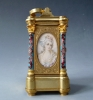 A French miniature carriage clock with two Sèvres portraits, circa 1880.