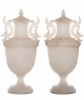 XIX Century Pair of Large Italian Alabaster Covered Urns