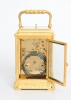 A French gilt brass engraved gorge case carriage clock, circa 1870