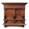 An oak miniature cabinet