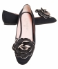 Chanel Black Satin Camellia Ballet Flats