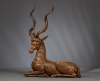 German Wooden Sculpure of a Mythical Creature with Kudu horns