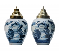 A Pair of Tobacco-jars in Blue Delft