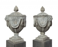 A Pair of Lead Garden Vases