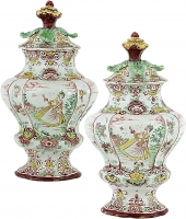 Polychrome Delft Vases