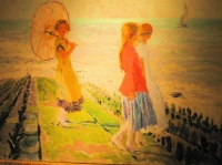 Three girls on a breakwater. Belgian luministic