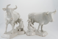 A Pair of White Delft Cows