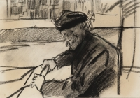 A cart pusher on the Prinsengracht - Isaac Israëls