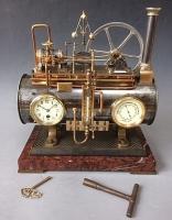 Industrie klok, horizontale boiler automaat van A.R. Guilmet à Paris,  circa 1890.