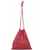 Chanel Vintage Red Leather Drawstring Bag