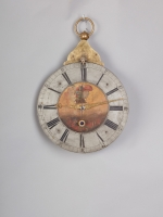 An unusual South German 'Teller-Uhr' wall clock with cow's tail pendulum, circa 1760