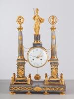 A French Louis XVI Grey Marble Mantle Clock, signed Denoyelle, circa 1780