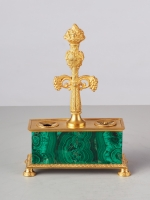 Malagite Inkwell circa 1810 French Empire