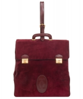 Les Must de Cartier Vintage Burgundy Suède Messenger Bag from the 'Orient Collection'