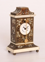 A miniature Austrian ivory and boulle 'zappler' timepiece, circa 1840
