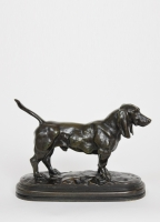 English Basset, bronze sculpture by Bayre, Barbedienne, circa 1880