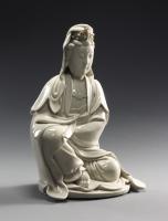 A large Blanc de Chine Dehua ware Guanyin, China Kangxi period ceramics